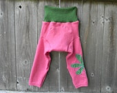 Upcycled Wool Longies Soaker Cover Diaper Cover With Added Doubler Pink/ Green With Flower LARGE 12-24M