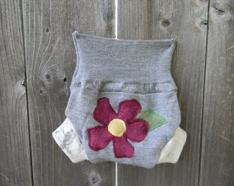Upcycled Wool Soaker Cover Diaper Cover With Added Doubler Gray  With Flower Applique NEWBORN 0-3M Kidsgogreen
