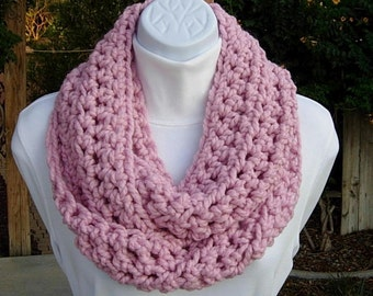 COWL SCARF Infinity Loop Light Solid Pink Bulky Soft Wool Blend Crochet Knit Winter Eternity Circle, Neck Warmer..Ready to Ship in 2 Days