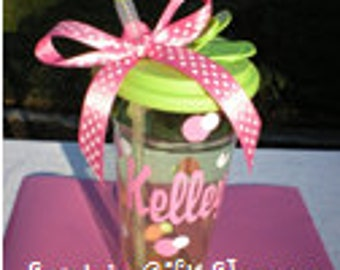 Personalized Vinyl Name Decal plus Dots for Tumbler - TUMBLER NOT INCLUDED - Teachers - Easter - Children - Teenagers - Tweens