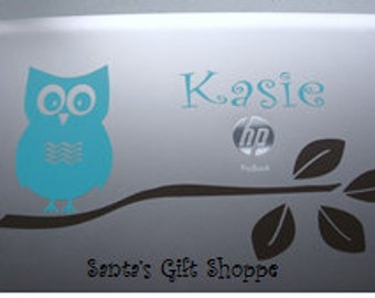 Laptop Vinyl Owl Sitting on Branch w/Name - Vinyl Wall Decal - Office - Bedroom - Home Decor- Office Decor