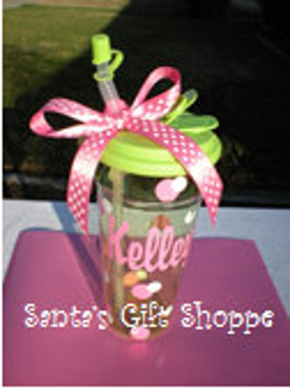 Personalized  Vinyl Name Decal plus Dots for Tumbler - TUMBLER NOT NCLUDED - Teachers - Easter - Children - Teenagers - Tweens