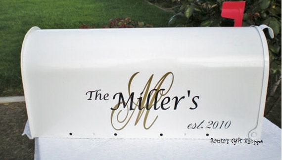 Personalized Mailbox - Wedding Mailbox Decals (2 sides) - (MAILBOX NOT INCLUDED) - 6 Vinyl Decals - Wedding Gift Card Holder