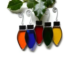 Stained Glass Lights - Set of 5 Rainbow Christmas Decorations