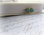 Pacific Opal Swarovski Crystal Post earrings, Boutique style earrings, Ocean Blue earrings
