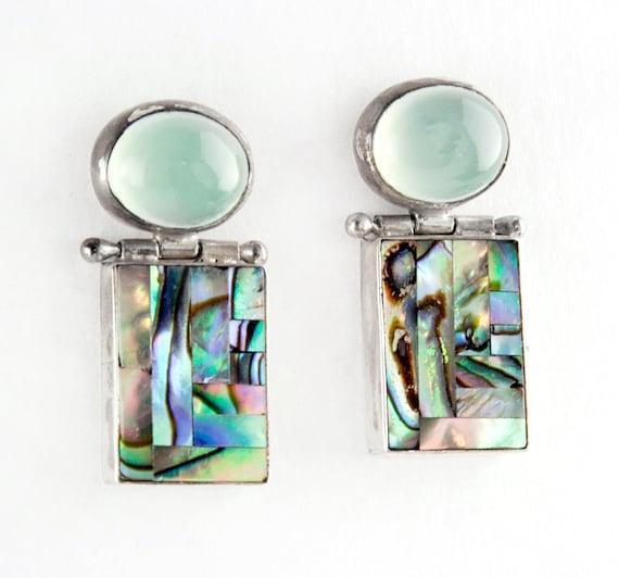 Ocean Breeze Peruvian Opal Chalcedony and Sterling Silver Earrings