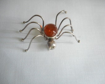 Vintage Hand Made Silver and Amber Spider Brooch