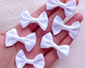 White Satin Bows / Fabric Ribbon Bow Tie (6pcs / 35mm x 25mm / White) Hair Accessory Jewelry DIY Wedding Party Favor Embellishment B103