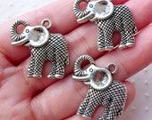 Silver Elephant Charms Exotic Animal Pendant (3pcs / 24mm x 25mm / Tibetan Silver) African Necklace Keychain Charm Baby Shower Decor CHM2202