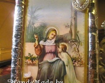 Saint Anne Stained Glass Holy Prayer Card Keepsake Mothers Grandmothers GrandParents