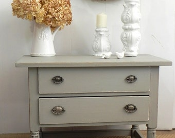 Country Furniture 2 drawer coffee table, hall entry table, vintage side table, painted grey blue with ornate silver medallion drawer pulls