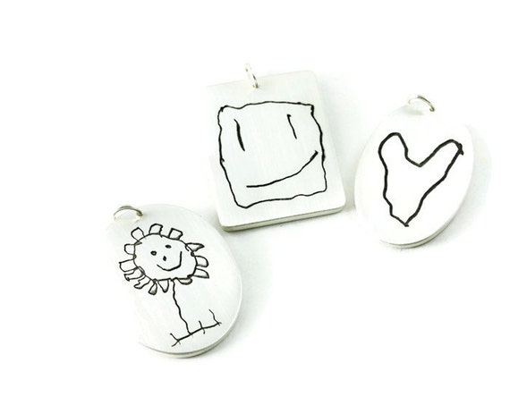 Your Childs Artwork on a Fine Silver Pendant