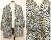 Leopard Fur Coat 90s Medium Large Faux Fur Jacket Club Kid Hipster