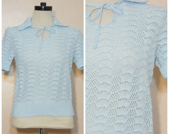 80s Pastel Blue Collared Sweater Jumper Open Knit 80s Prep Pastel Goth Preppy