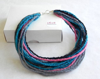 Felt necklace - felted necklace - turquoise pink gray - merino wool necklace - wool accessory - Ready to send