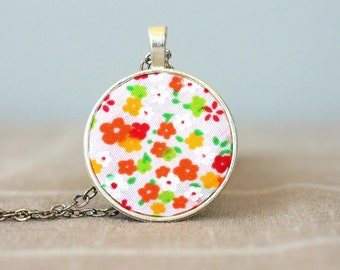 Floral necklace small pendant necklaces for women flower necklace orange and yellow necklace floral jewelry bohemian necklace boho jewelry