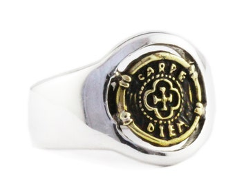 Signet Man Ring Personalize Sterling Silver Coin Rings Mens Jewelry