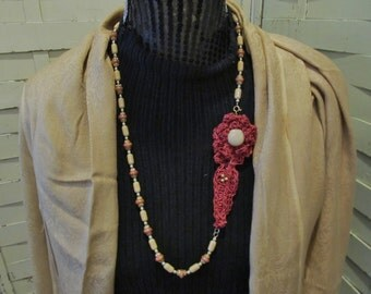 Crocheted Flower and Leaf Joined with a Beaded Necklace...Shades of Autumn