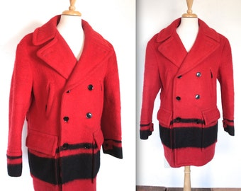 Vintage 1950's Early's Witney Point Blanket Coat // 50s Red Double Breasted Mackinaw Coat // Coureur De Bois // Rice Sportswear