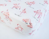 Baby Girl Bedding - Flamingo Crib Sheet / Changing Pad Cover / Pink Mint Fitted Sheet / Flamingo Baby Bedding Etsy