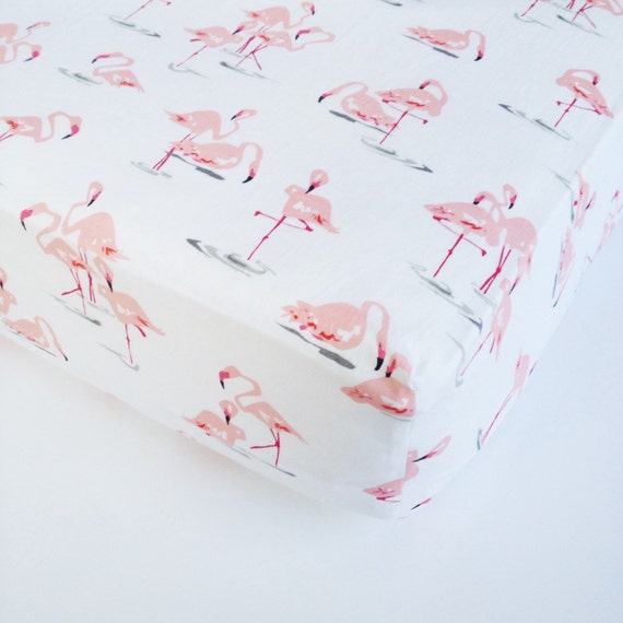Mini Crib Mattress Size Baby Girl Bedding Flamingo Crib Sheet / Changing Pad by ...