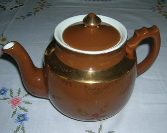 Vintage Hall China Ohio Teapot Stock Brown Standard Gold Decoration