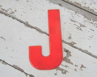 Vintage Metal Sign Letter - J