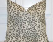 KRAVET - Animal Print Linen Decorative Pillow Cover - Toss Pillow - Sofa Pillow - Designer Pillow - Aqua and Grey