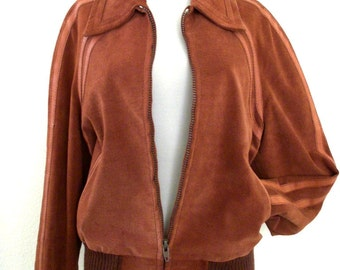 Vintage 1970s Brown Suede Jacket by EL TORO BRAVO - 70s - Mens Brown Suede Varsity Style Jacket with Leather Strips - Mens Size 42 Small