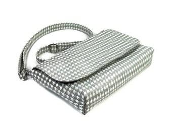 Small Gray Houndstooth Purse, Mini Messenger Bag, Gray and White Crossbody Bag, Woman's Cross Body Bag, Handmade Fabric Purses