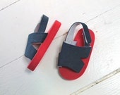 vintage baby sandals - NAUTICAL baby flip flop sandals / infant size 4