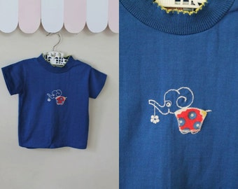 vintage 1970s girls top -  BABY ELEPHANT blue novelty tee / 3-4T