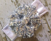 Silver Sparkle Messy Bow Head Wrap - Pool Safe