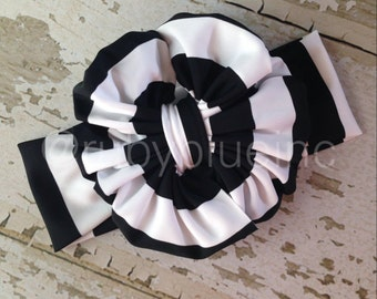 Black and White Stripe Messy Bow Head Wrap - Pool Safe