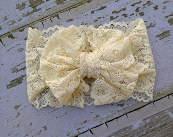 Ivory Lace Messy Bow Head Wrap