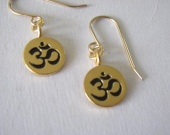 Sterling Silver Gold Plated Ohm Earrings
