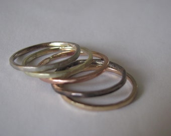 Five 14k Gold Stackable Rings