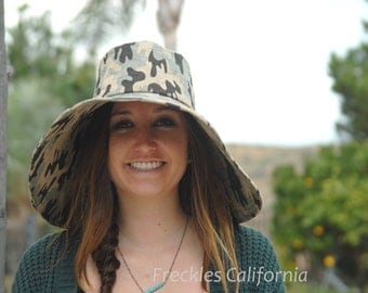 Camouflage Wide Brim Sun Hat Boating Hat Gardening Accessory Beach Hat Gift for Her Summer Hat Spring by Freckles California