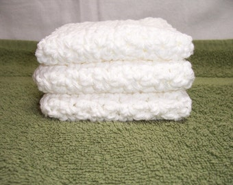 "Set of 3 Handmade Crocheted Dish Cloths,Kitchen-Bath Wash  Cloths -7"" x 7"" - 100% Cotton"