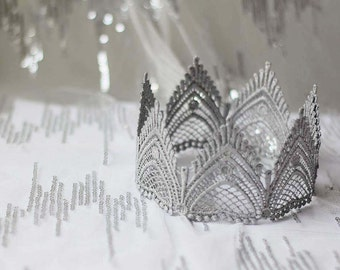 "Silver Fairy Tale Lace Crown - ""The Empress"" - queen crown, birthday crown, bridal crown"