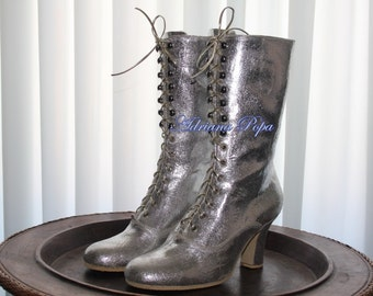 2017 Colour Victorian Boots in Metallic  leather Amazing Silver Boots Bridal Silver Victorian Boots Custom shinny shoes