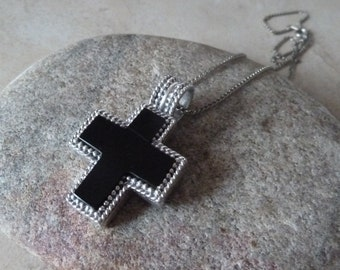 Black Onyx Cross, Sterling, Vintage Cross, Vintage Jewelry, Religious Jewelry