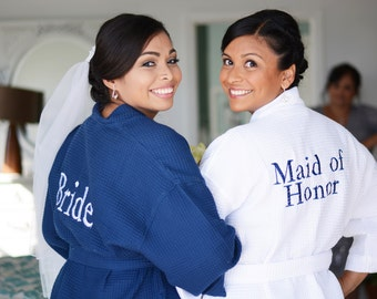 2 Bridal Party Gifts Spa Robes Bridesmaids Bride Maid of Honor Gift Front embroidery is included on all robes