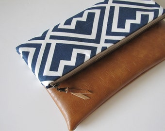 Foldover Clutch, Leather Clutch Purse, Vegan Leather Clutch, NavyBlue Zipper Clutch, Ipad Case, Kindle Case,Holiday Gift , Gift For Her