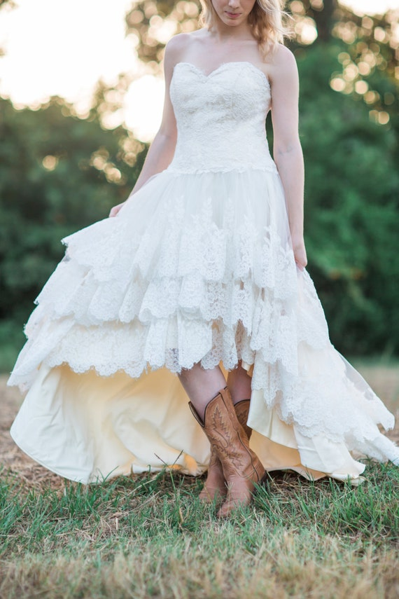 Country wedding dress with lace high low hem the guinevere country wedding dress with lace high low hem the guinevere dress junglespirit Gallery
