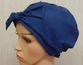 Chemo Caps, Cotton Cancer Cap, Blue Hair Loss Bonnet, Cotton Chemo Headwear, Cancer Head Wraps