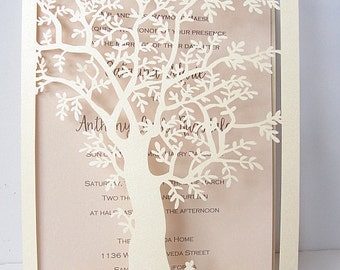Laser Cut Tree Wedding Invitation, Fall Wedding Invitation, Tree Wedding Invite, Rustic Wedding Invitation, Autumn Wedding TREE - 2 IVORY