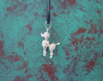 Poodle Dog Charm Pendant .925 Moveable Parts with Black Cord