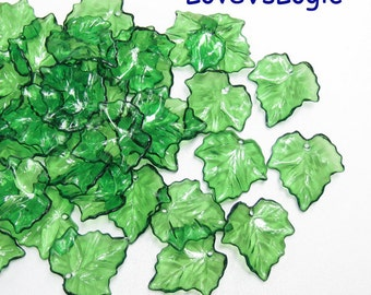 40 Acrylic Leaf Beads Charms.Icy Dark Green Tone