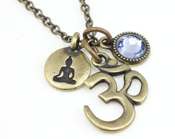 Meditation Jewelry Om and Buddha and Custom Crystal Charm Necklace Yoga Jewelry Antique Brass Bronze Pendant Mindfulness Jewelry Personalize